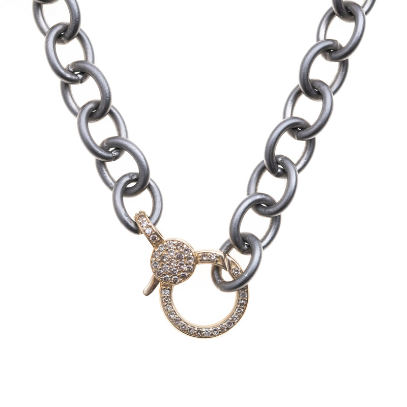 16'' Oxidized Silver Chain with Gold Diamond Gold Clasp
