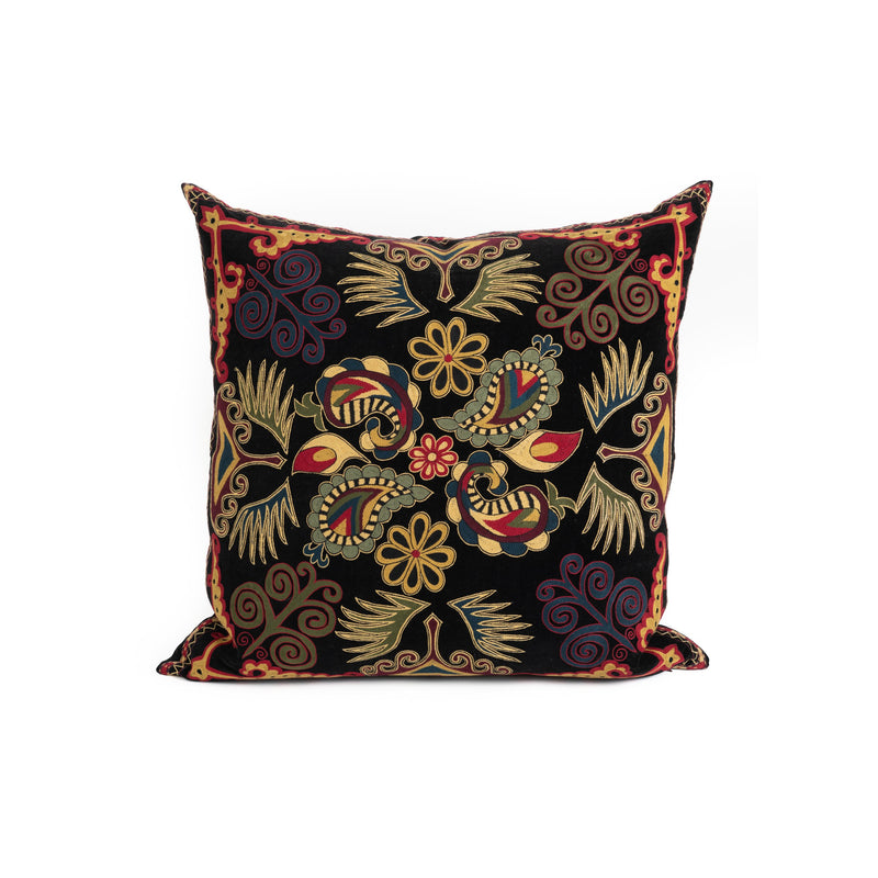 Uzbekistan Pillow Large - Black Paisley