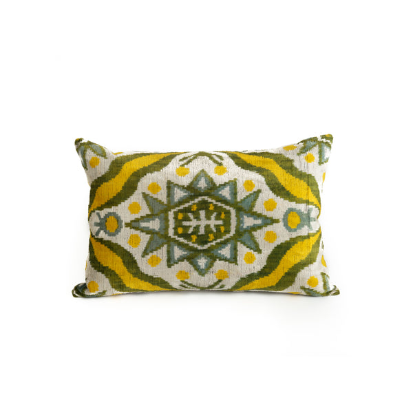 Ikat Velvet Lumbar Pillow - Maize