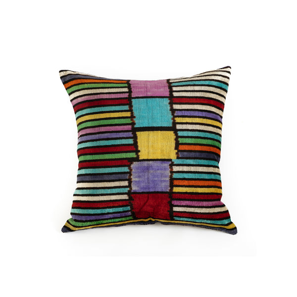 Ikat Velvet 20x20 Pillow - Colorful Stripe and Black