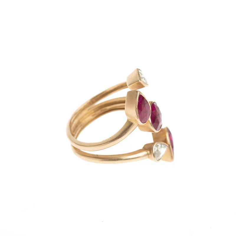 5 Arm Ruby and Diamond Ring
