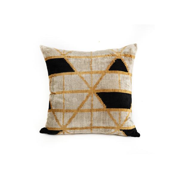 Ikat Velvet 20x20 Pillow - Golden Geometry