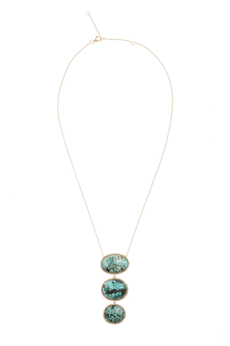 Turquoise Drop Gold Necklace