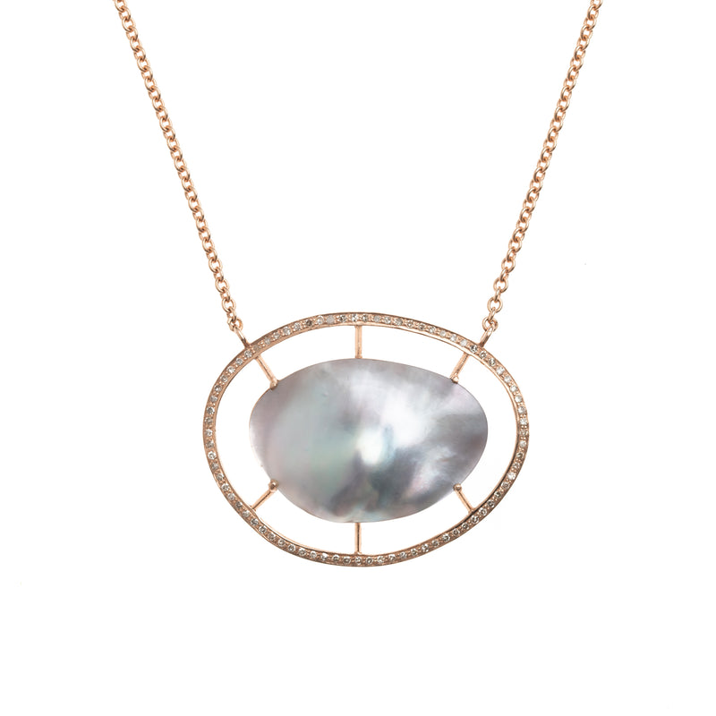 Suspended Mabe Pearl in Rose Gold Necklace