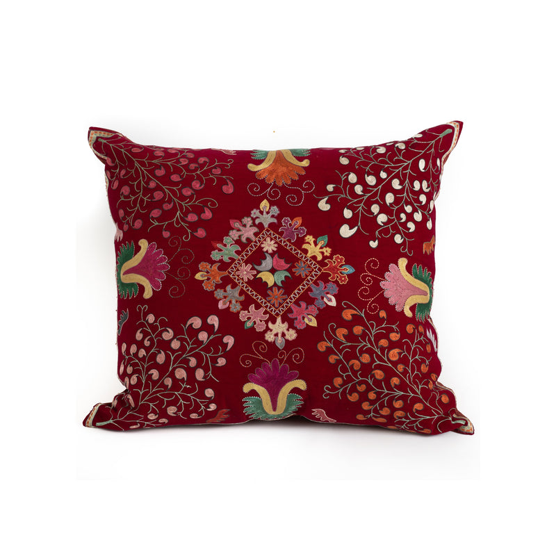 Uzbekistan Pillow Large - Red Trees