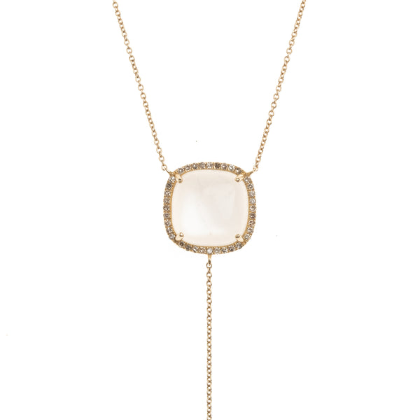 Milky White Moonstone Gold Drop Necklace