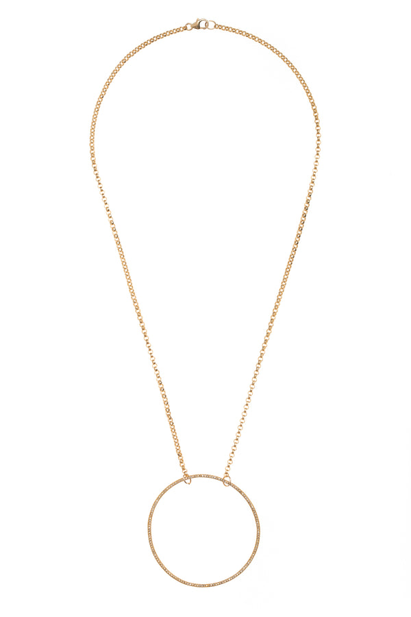Open Diamond Gold Circle Necklace