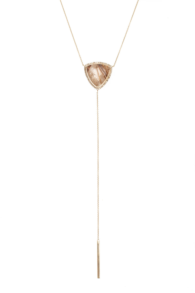 Rutilated Quartz Triangle Drop Necklace
