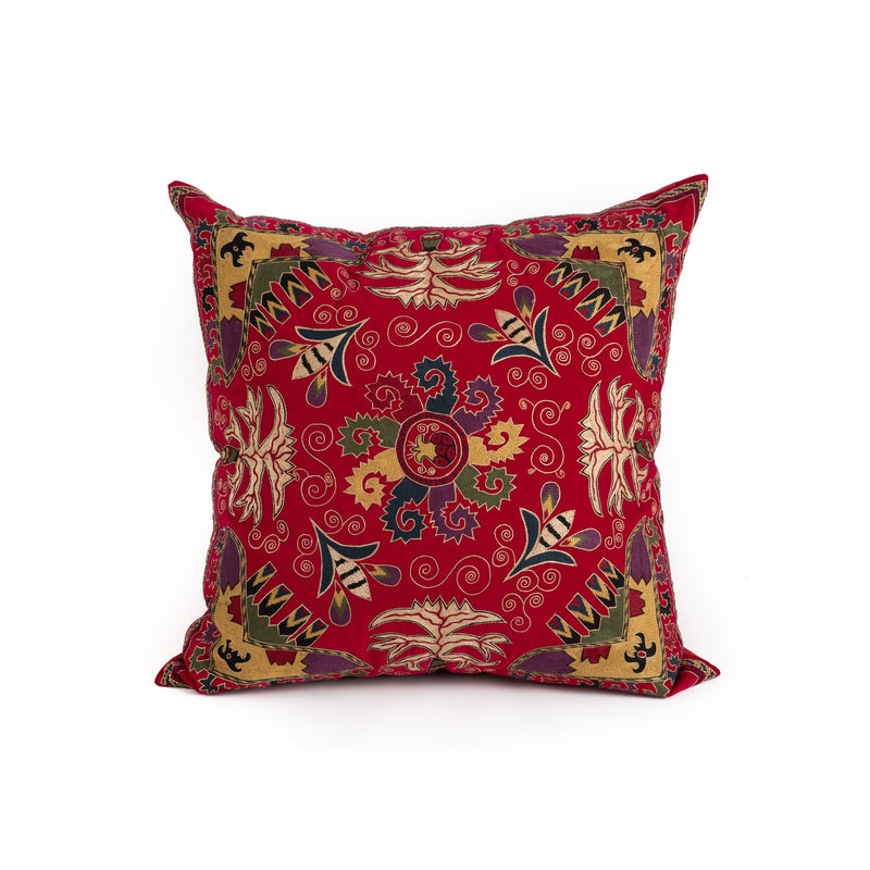 Uzbekistan Pillow Large - Red Blooms