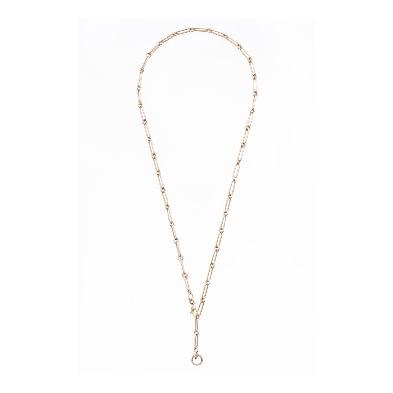 Elongated and Round Gold Link Diamond Chain with Openable Clasp