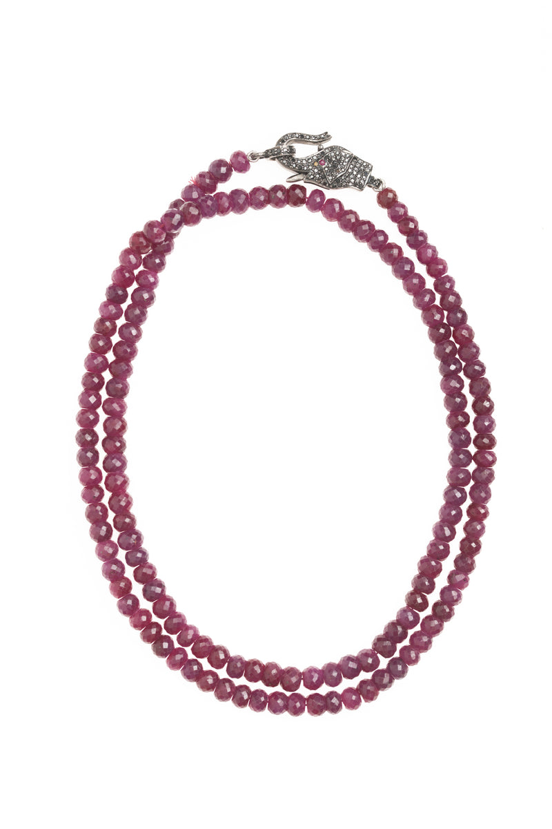 Ruby Bead and Diamond Elephant Clasp Necklace