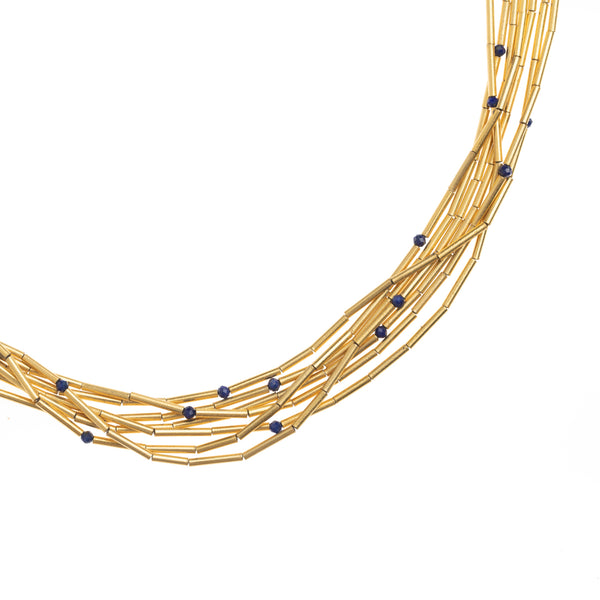 Golden Seven Strand Necklace with Lapis Lazuli