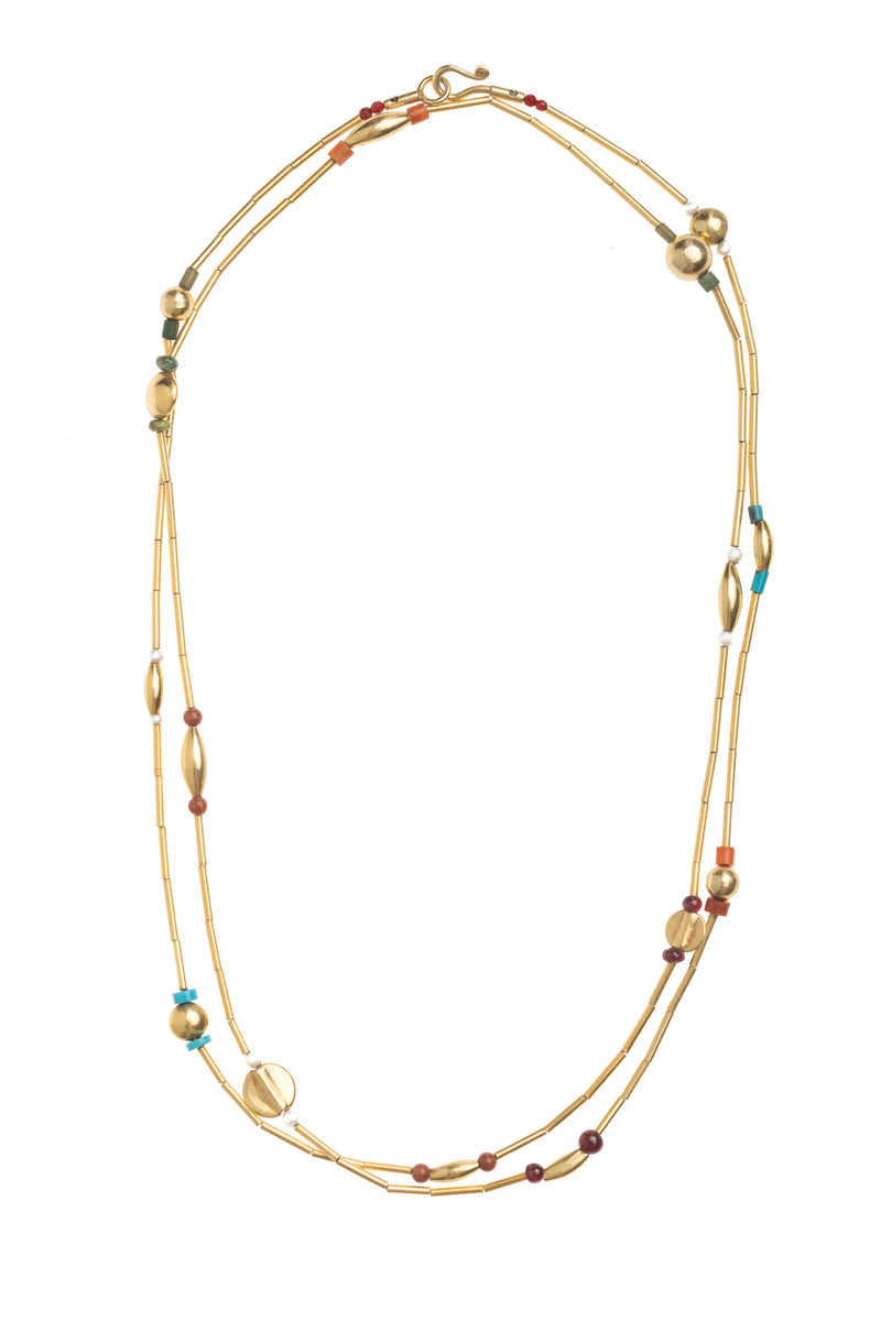 36 Inch Golden Single Strand Necklace with Assorted Stones