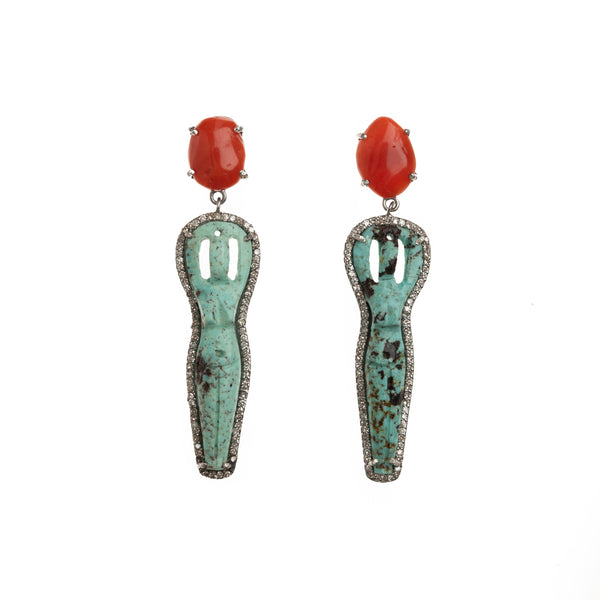 Turquoise Goddess and Coral Drop Earrings