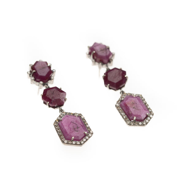 Three Raw Ruby Drop Earrings