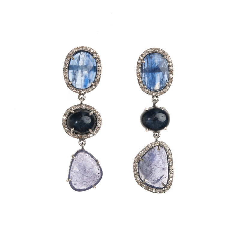 Kyanite and Blue Star Sapphire Drop Earrings