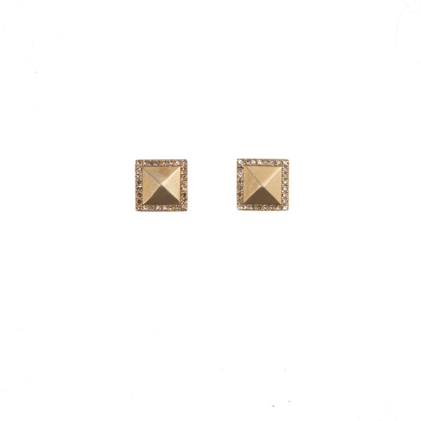 Petite Gold Pyramid Earrings