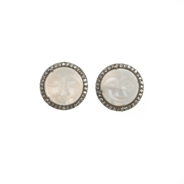 Moonstone Face Stud Earrings