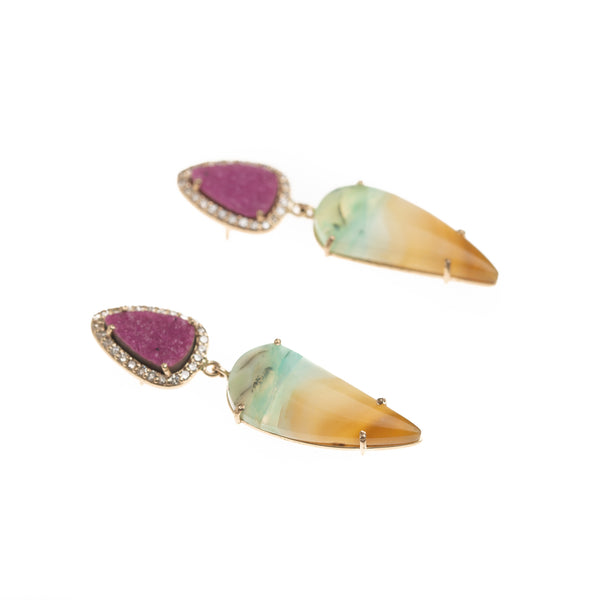 Gold Cobalto Calcite and Petrified Opal Drop Earrings