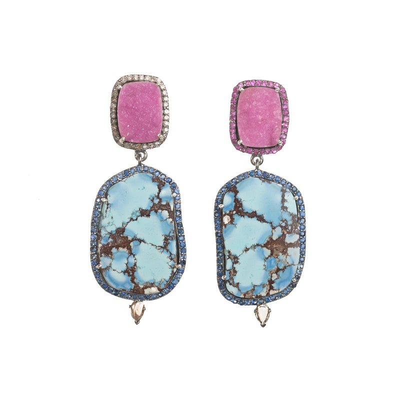 Cobalto Druzy and Kazakhstan Turquoise Drop Earrings