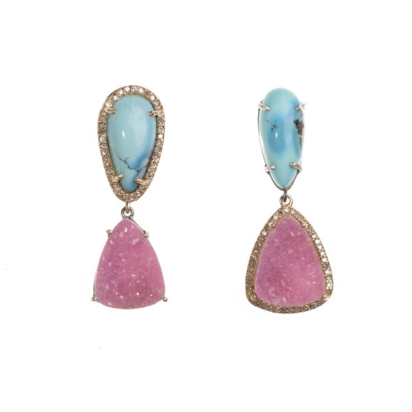 Kazakhstan and Cobalto Calcite Asymmetric Drop Earrings