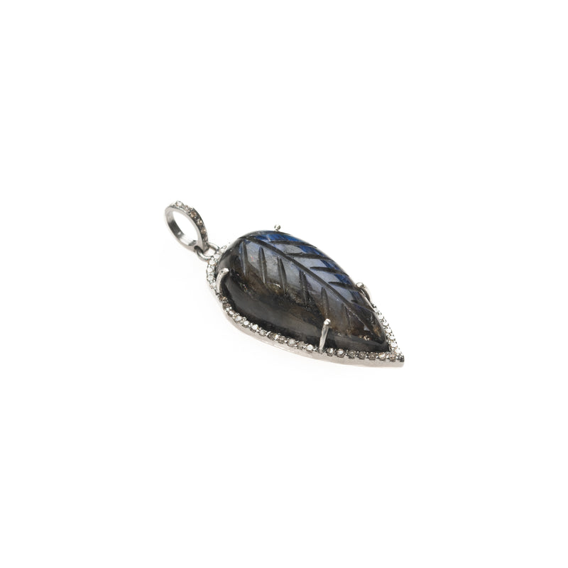 Carved Leaf Labradorite Drop Pendant