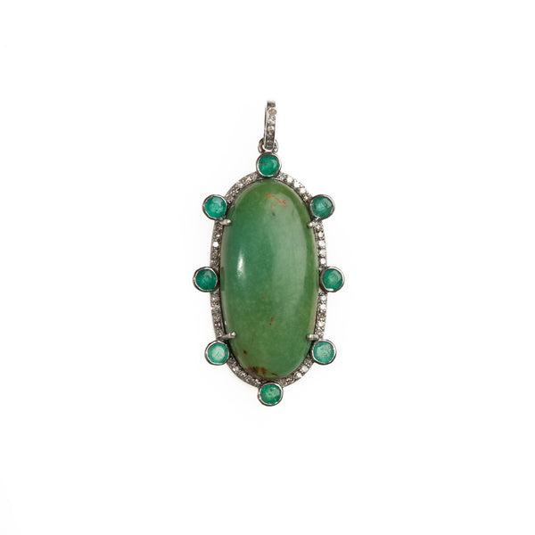 Turquoise Cabochon with Emerald And Diamond Halo Pendant