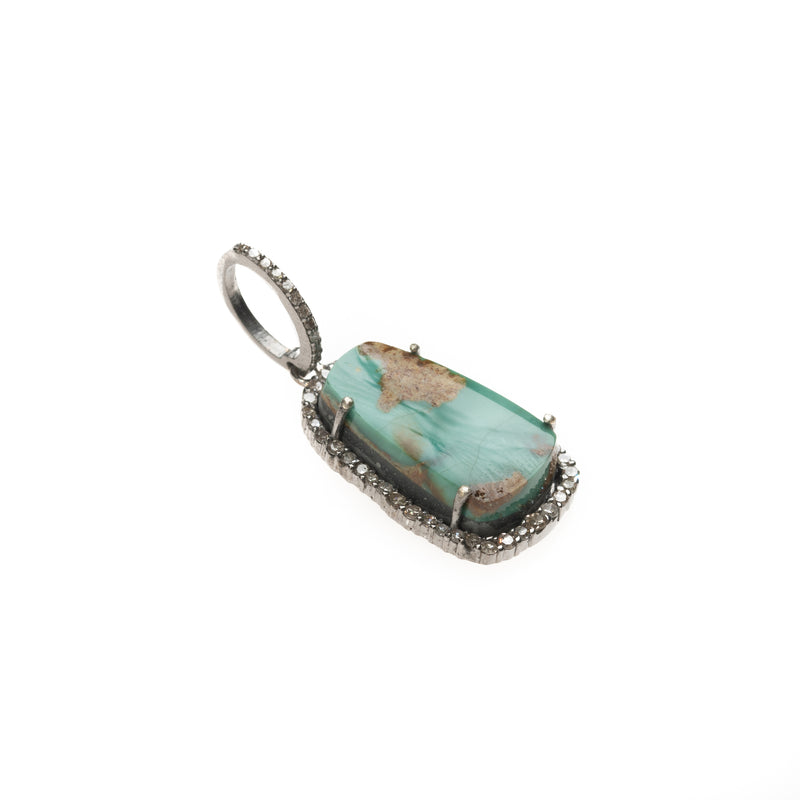 Blue Gem Turquoise Rectangle Pendant