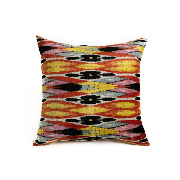 Ikat Velvet 24x24 Pillow - Colorful Diamonds