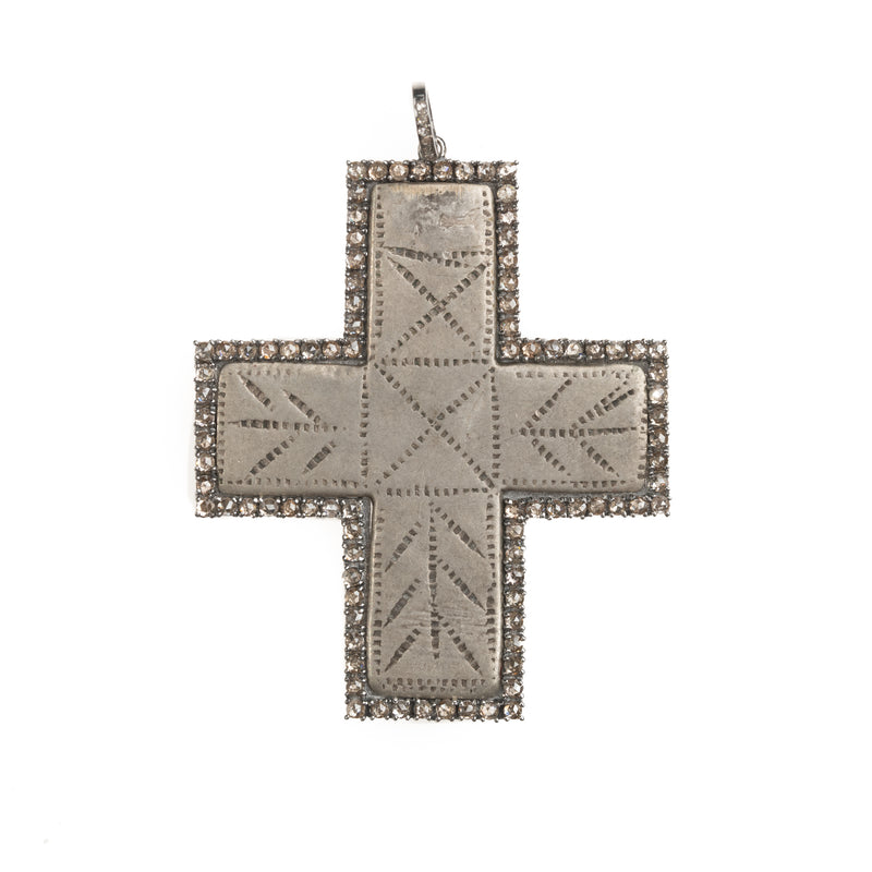 African Silver Cross and Diamond Halo Pendant