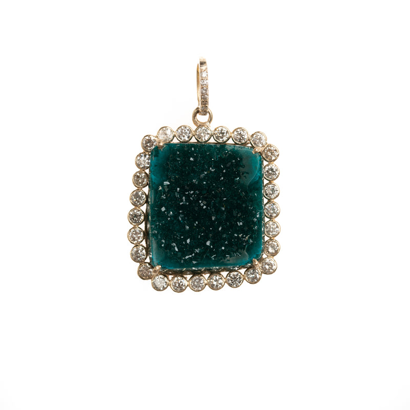 Gold and Dioptase Druzy Pendant