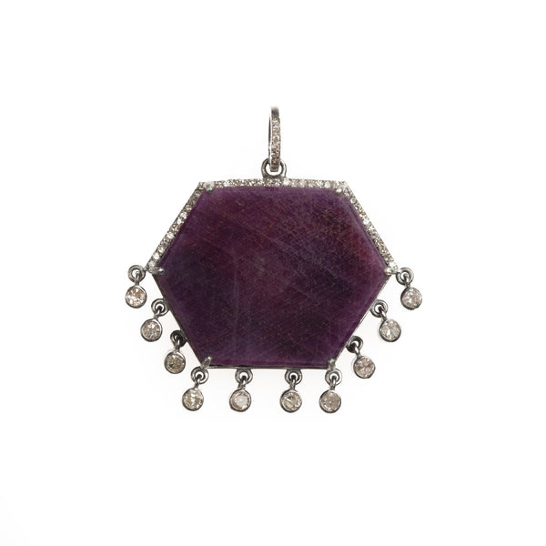 Hexagon Raw Ruby Slice with Diamond Dangle Pendant