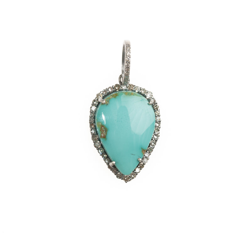 Blue Gem Turquoise Drop and Diamond Halo Pendant