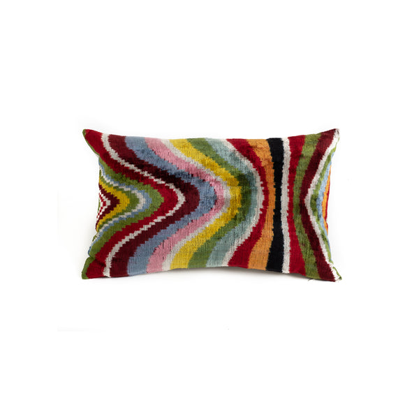 Ikat Velvet Lumbar Pillow - Rainbow Wave
