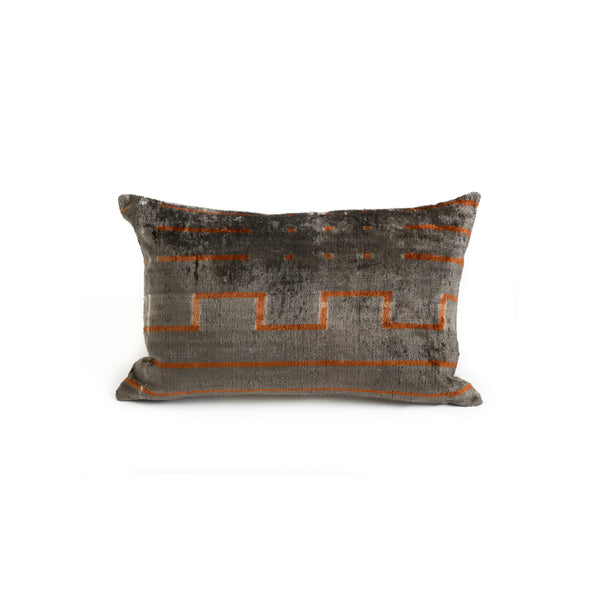 Ikat Velvet Lumbar Pillow - Gray with Brown Geometric Stripes