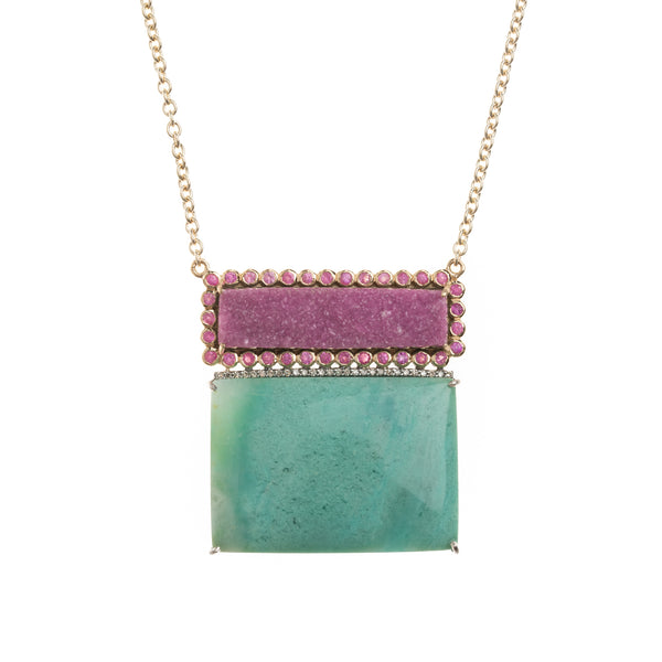 Geometric Pink and Turquoise Necklace