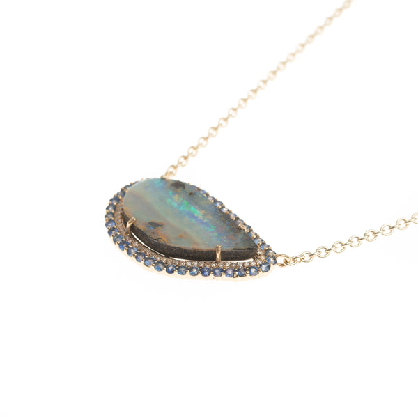 Gold Australian Opal Swipe with Sapphire and Diamond Halo Necklace