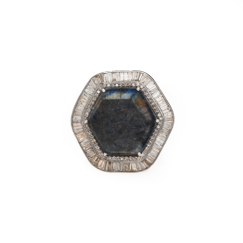 Hexagon Raw Sapphire Baguette Halo Ring
