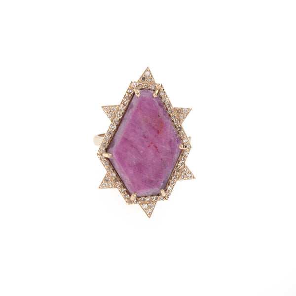 Gold Hexagon Raw Ruby Slice Diamond Ring