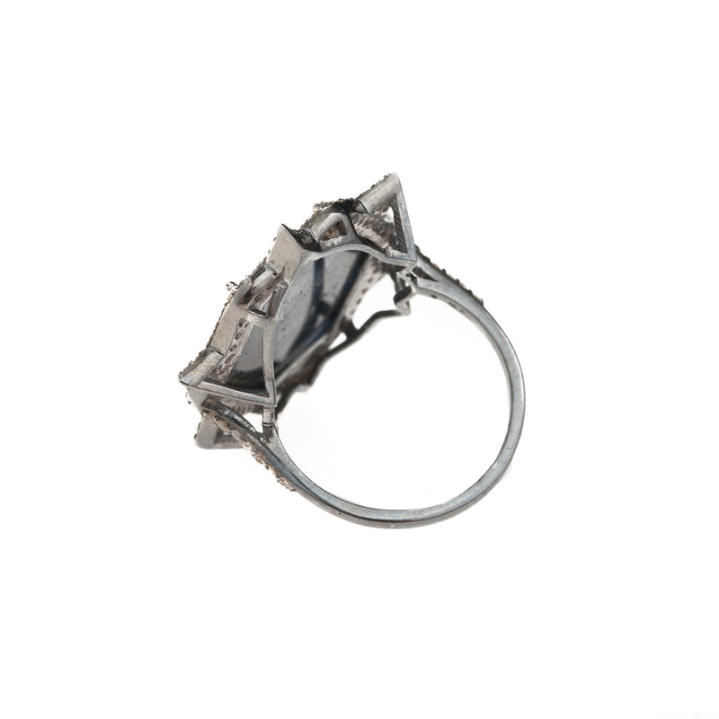 Hexagon Raw Sapphire Slice Point Ring