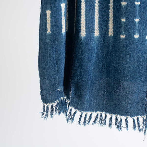 Woven Blue Indigo Fabric Mudcloth - Short Fringe