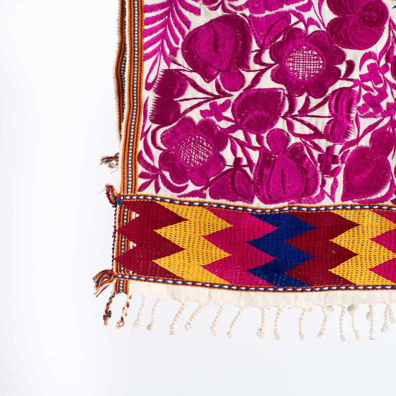Mexican Embroidered Flower Table Runner