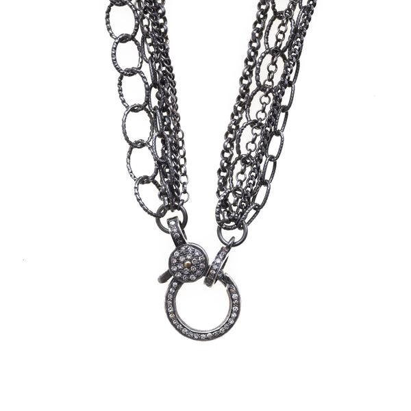 Assorted Five Strand Chain with Pave Diamond Clasp