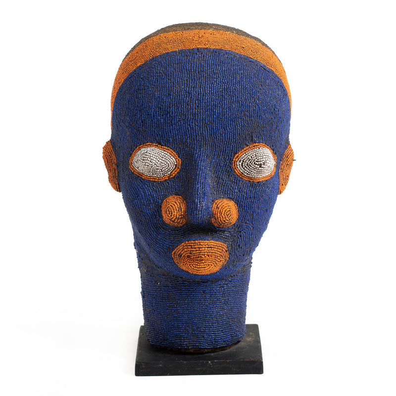 Beaded Cameroon Head - Blue
