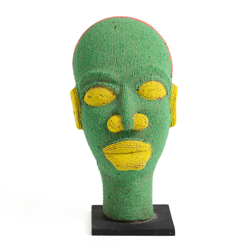 Beaded Cameroon Head - Green