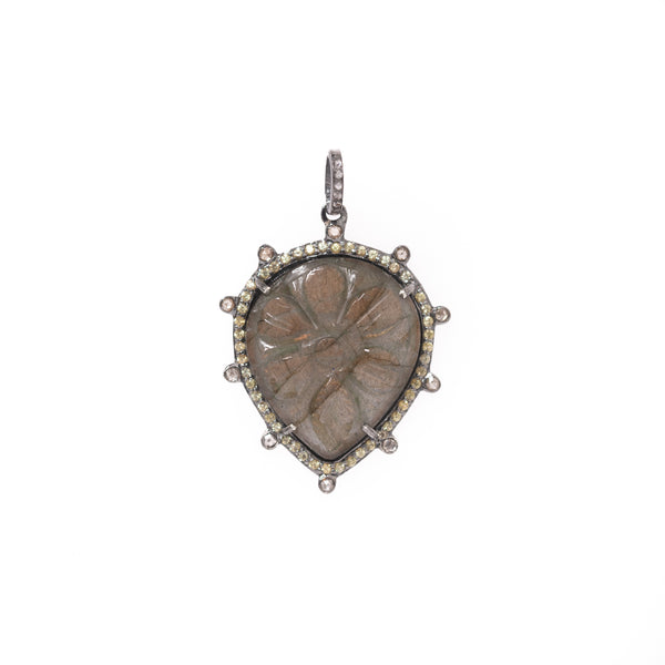Carved Flower Labradorite Drop Pendant with Diamond Halo