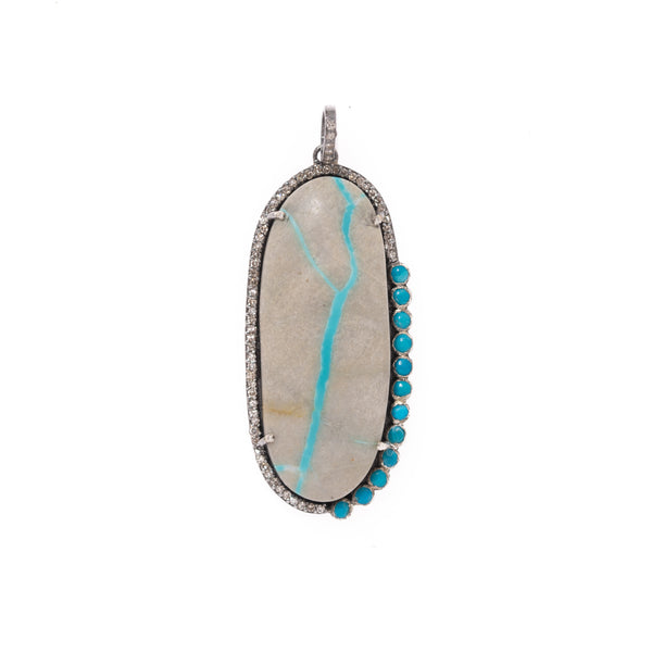 Royston Ribbon Turquoise with Turquoise and Diamond Halo Pendant