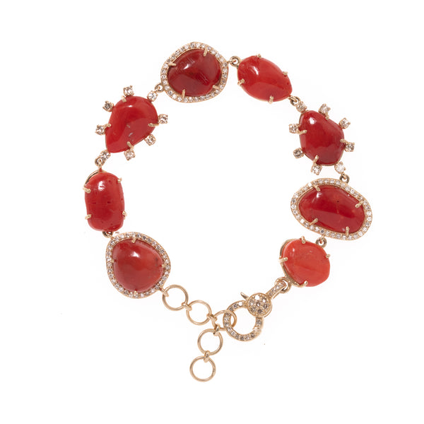 Coral Gold and Diamond Bracelet