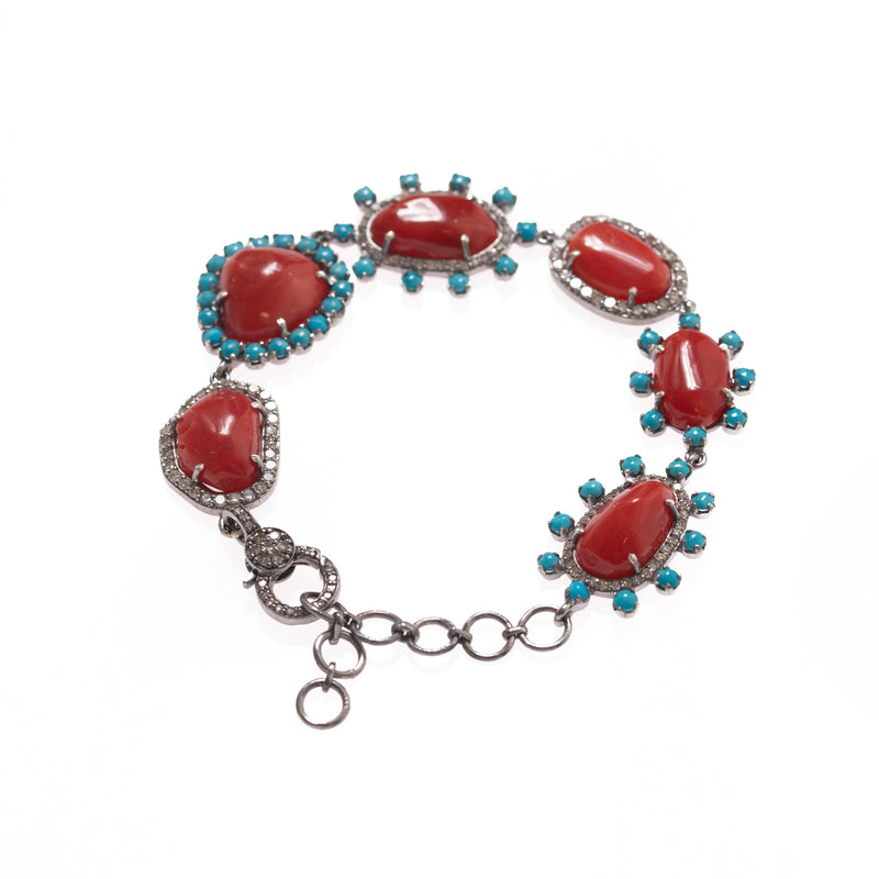 Coral with Turquoise and Diamond Halo Bracelet