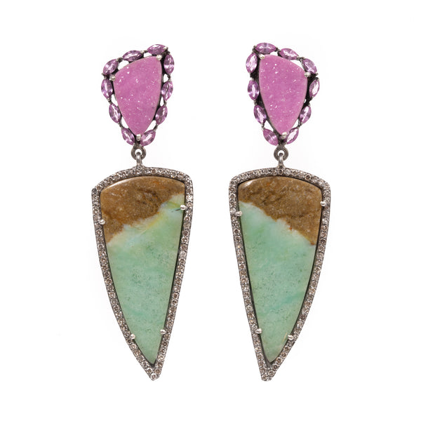 Cobalto Calcite and Pink Sapphire Surround with Petrified Opal Drop Earrings